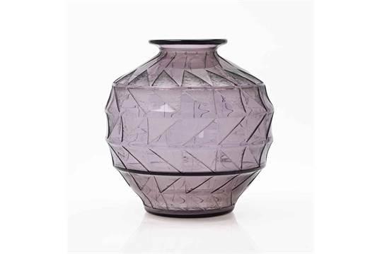 Daum Grand Vase Vers 1930 En Verre Teint Dcor Partiellement