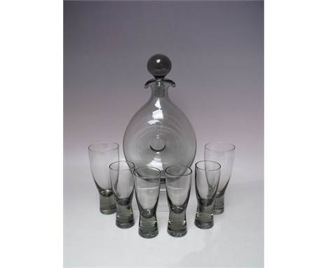 PER LUTKEN FOR HOLMEGAARD 'DANICA' GLASS DECANTER, having double pouring lip, complete with stopper, together with a selectio