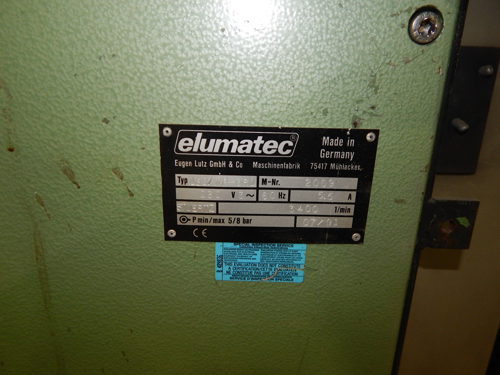 ELUMATEC 180/WP-3RU SINGLE HEAD CORNER CLEANER WITH 3,400 RPM, 230V/3PH/60HZ, S/N: 2009 (CI) - Image 3 of 6