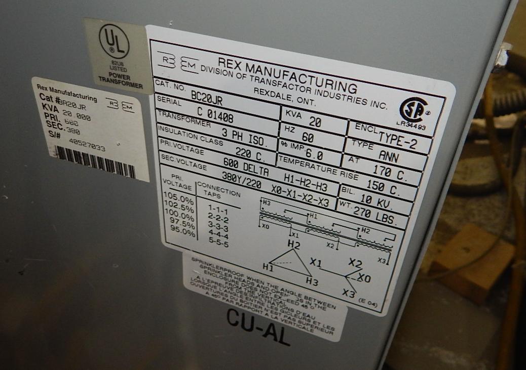 REX 20KVA, 600/220V, 3PH, 60Hz TRANSFORMER (CI) - Image 2 of 2