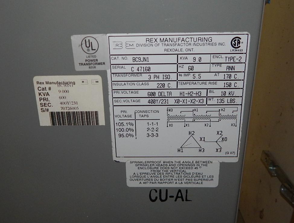 REX 9.0KVA, 600/231V, 3PH, 60Hz TRANSFORMER (CI) - Image 2 of 2