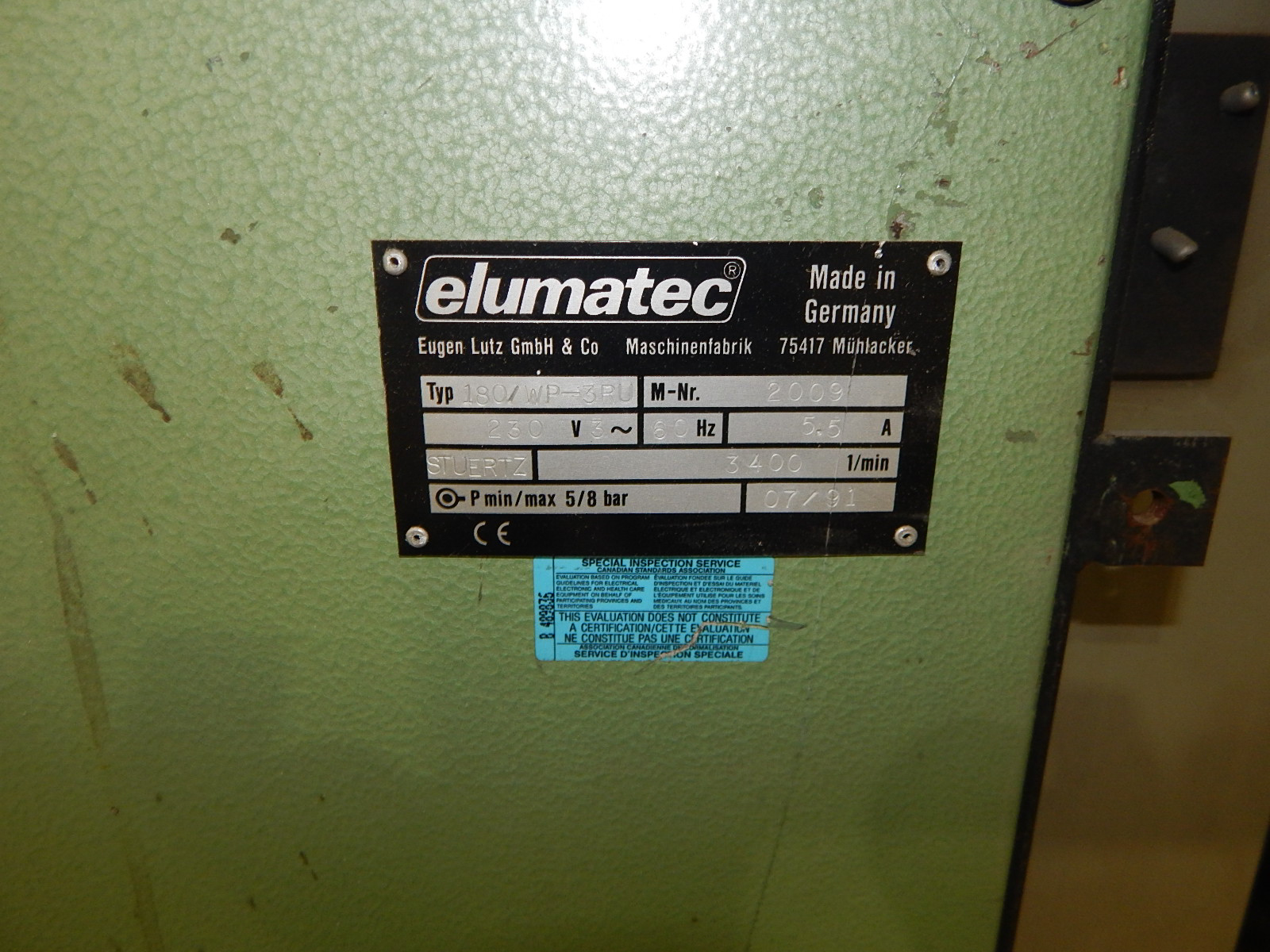 ELUMATEC 180/WP-3RU SINGLE HEAD CORNER CLEANER WITH 3,400 RPM, 230V/3PH/60HZ, S/N: 2009 (CI) - Image 6 of 6