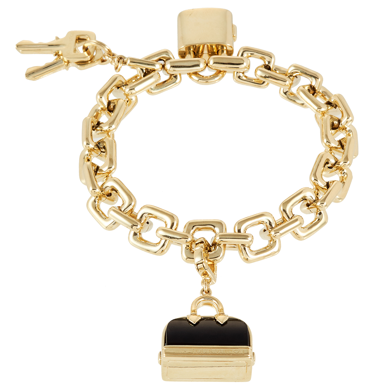 AN ONYX CHARM BRACELET, LOUIS VUITTON in 18ct yellow gold, set an with onyx handbag charm, a padlock