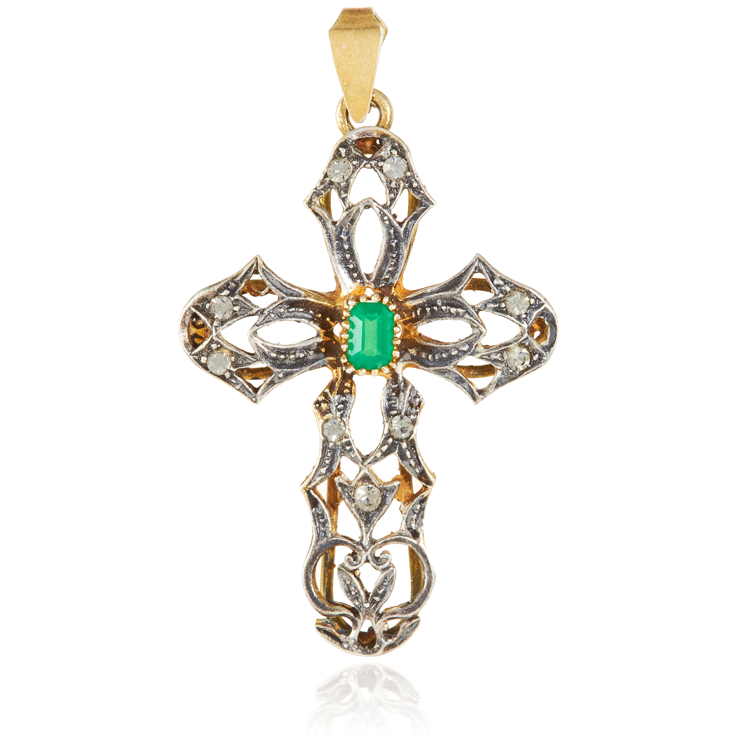 AN EMERALD AND DIAMOND CRUCIFIX PENDANT, PORTUGUESE in high carat yellow gold and silver, the