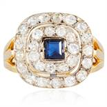 A SAPPHIRE AND DIAMOND DRESS RING in high carat yellow gold, set with a square cut sapphire of