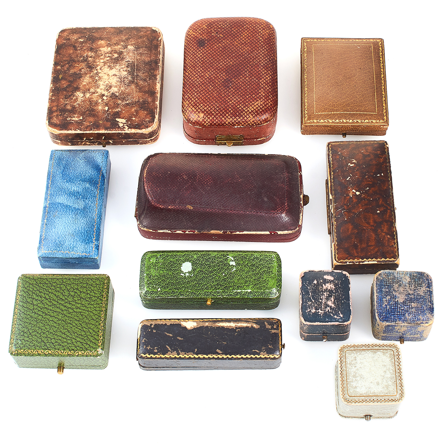 Los 193 - A COLLECTION OF TWELVE VARIOUS ANTIQUE JEWELLERY BOXES