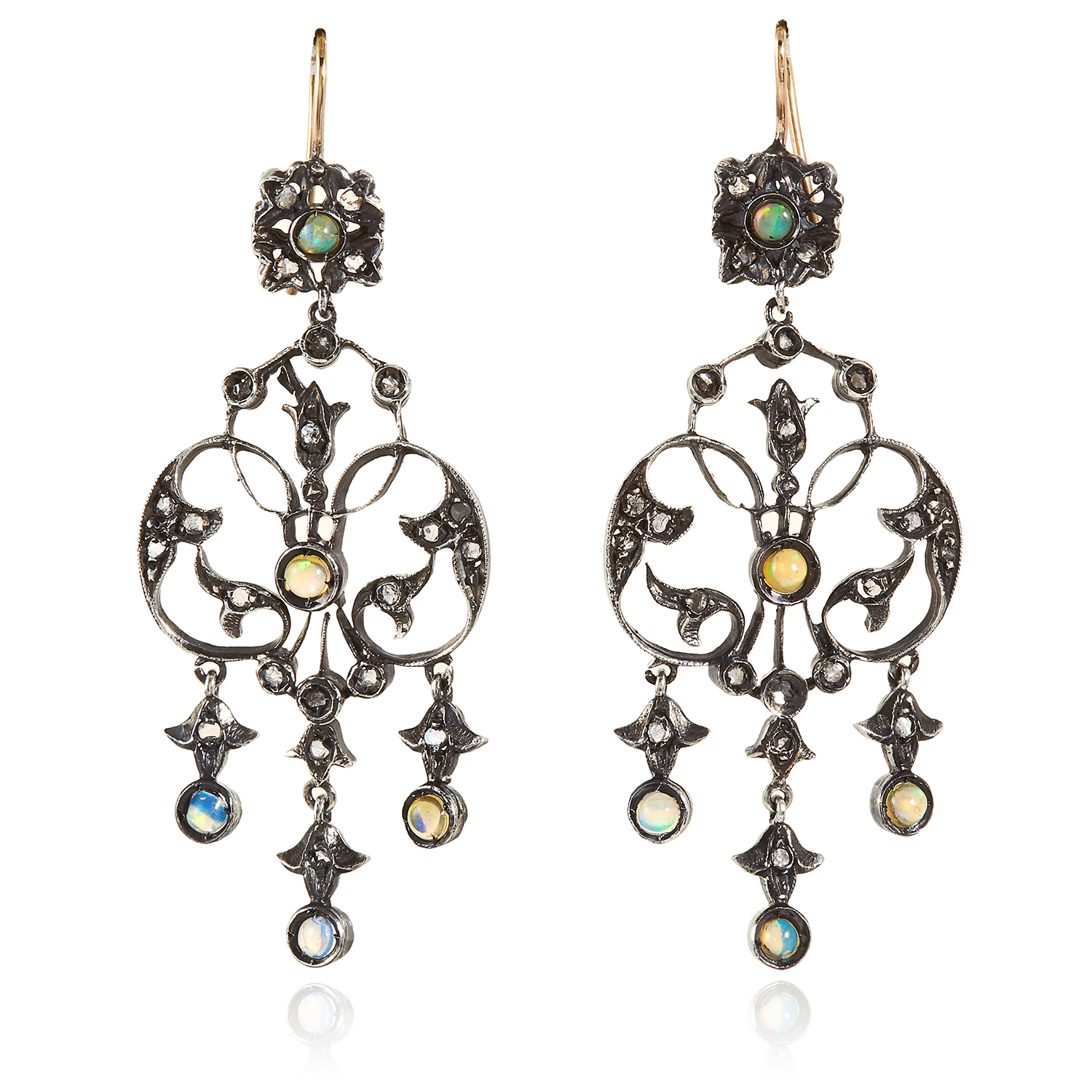Los 46 - A PAIR OF OPAL AND DIAMOND EARRINGS in gold and silver, the openwork scrolling design set with opals