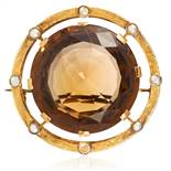 AN ANTIQUE SMOKEY QUARTZ, PEARL AND DIAMOND BROOCH in high carat yellow gold, set with a round cut