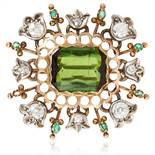 AN ANTIQUE TOURMALINE, EMERALD AND DIAMOND BROOCH, 19TH CENTURY in yellow gold and silver, the