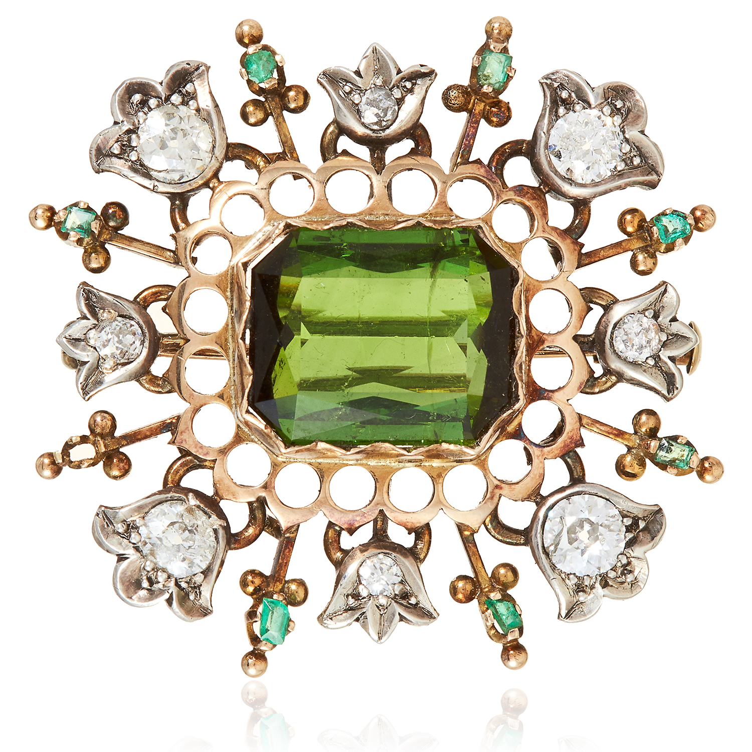 Los 41 - AN ANTIQUE TOURMALINE, EMERALD AND DIAMOND BROOCH, 19TH CENTURY in yellow gold and silver, the