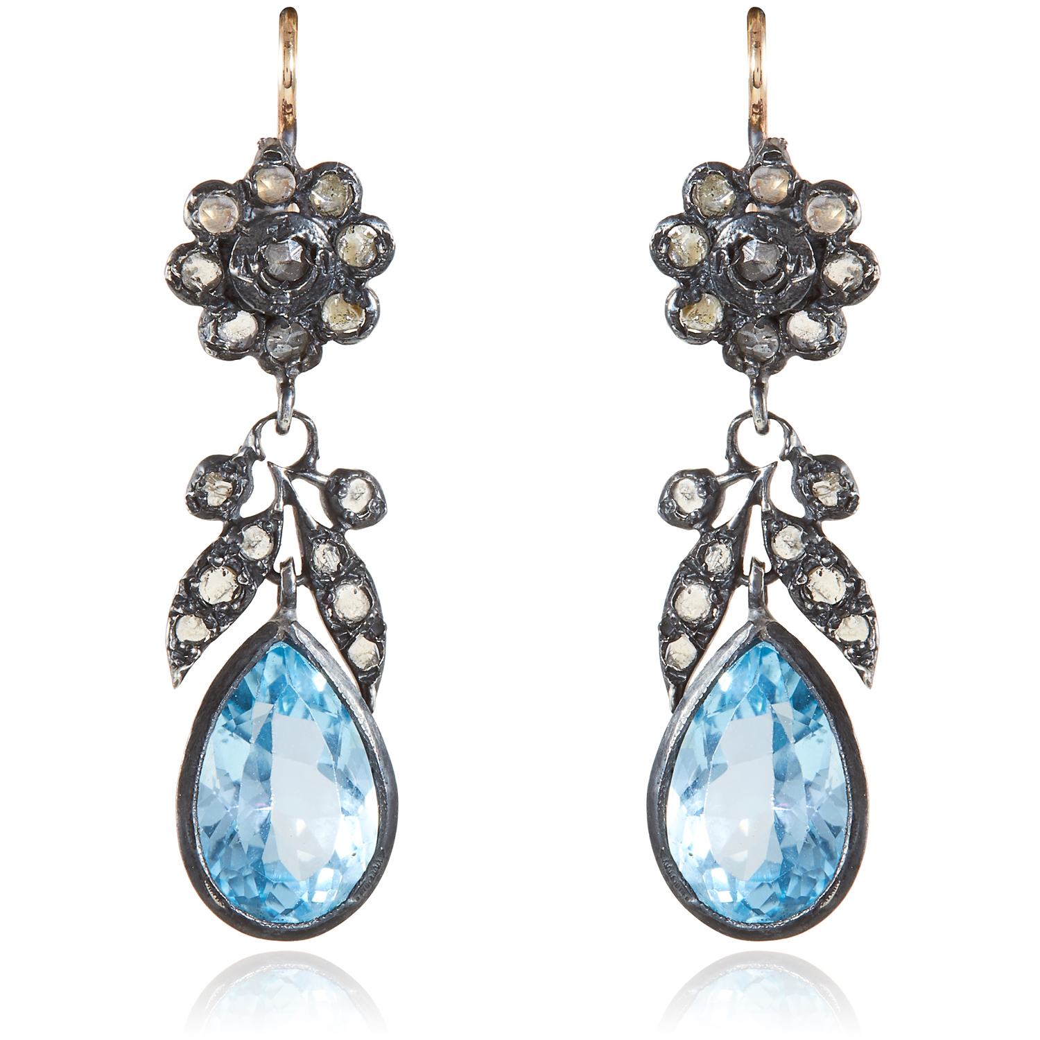 A PAIR OF ANTIQUE AQUAMARINE AND DIAMOND EARRINGS, 19TH CENTURY in gold and silver, each set with