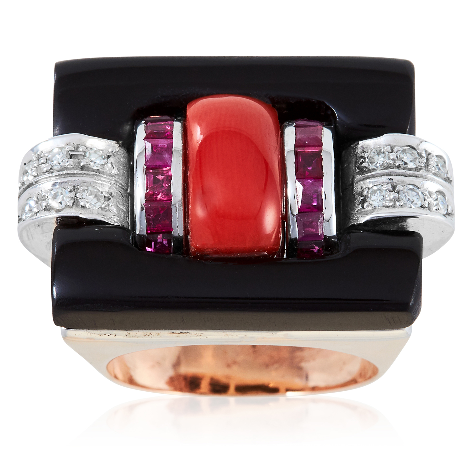 A CORAL, ONYX, RUBY AND DIAMOND COCKTAIL RING, 1940s in high carat yellow gold, set with a central