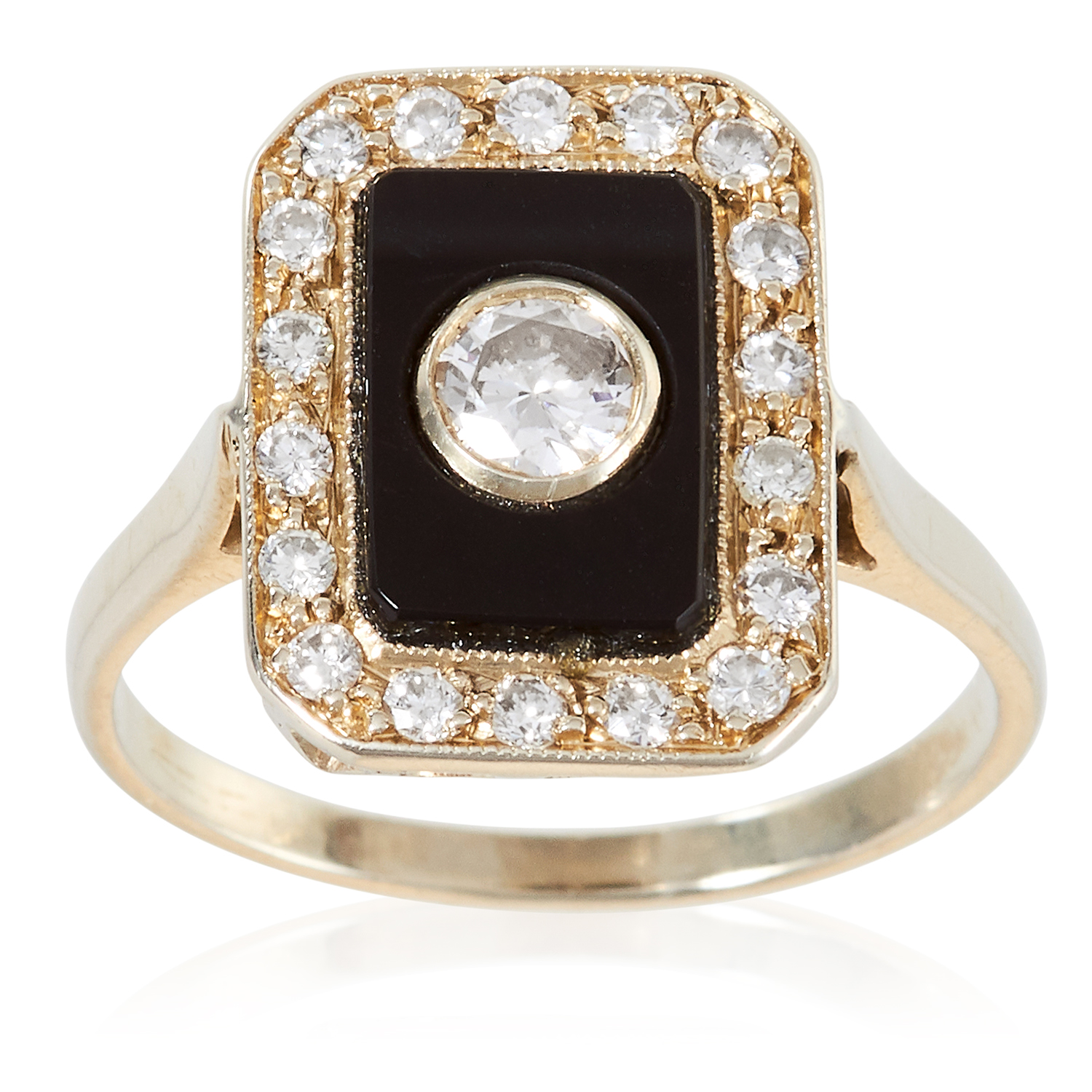AN ART DECO DIAMOND AND ONYX RING in 18ct gold, the central 0.23 carat round cut diamond set against