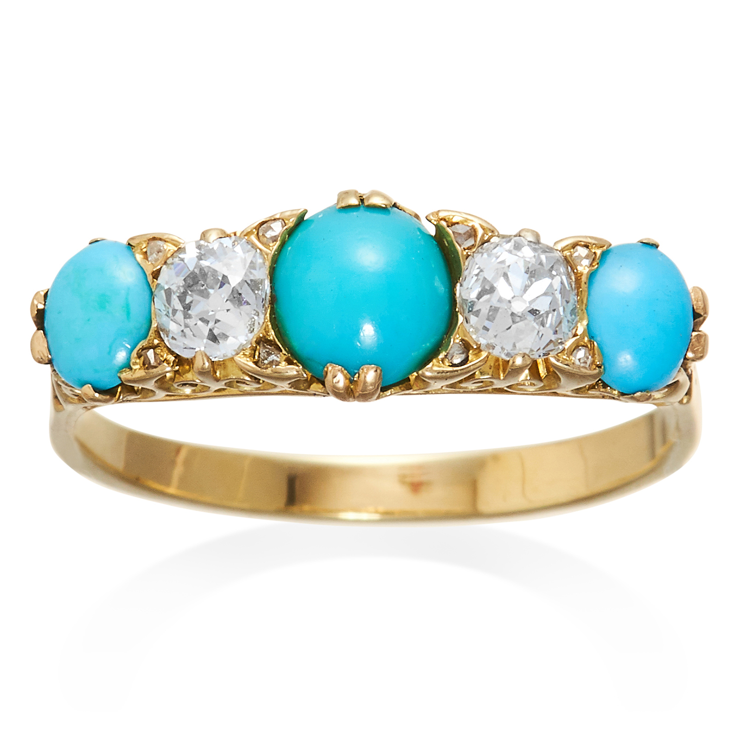 Los 56 - AN ANTIQUE FIVE STONE TURQUOISE AND DIAMOND RING in high carat yellow gold, set with three