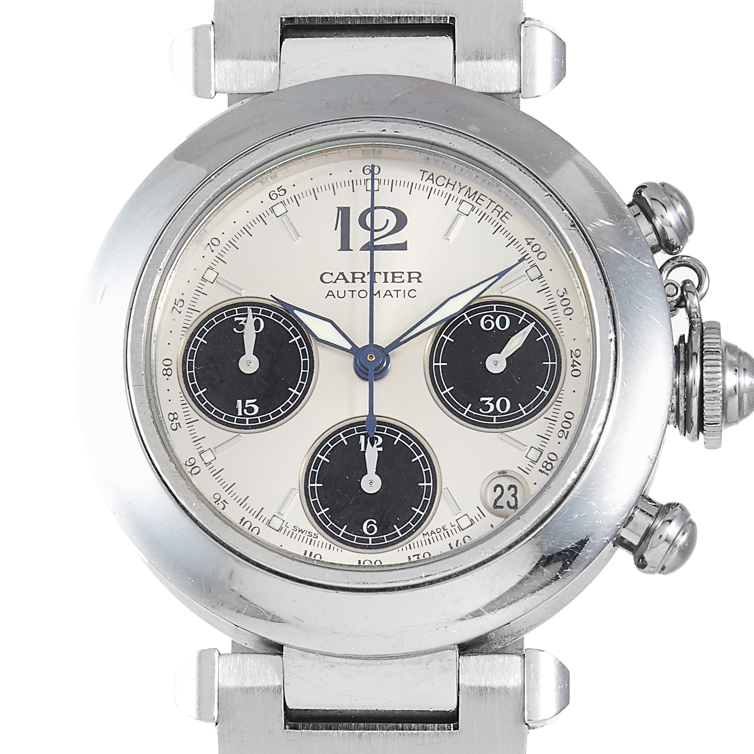 Los 131 - A 'PASHA DE CARTIER' WRIST WATCH, CARTIER in steel, automatic movement, 36mm, signed Cartier and