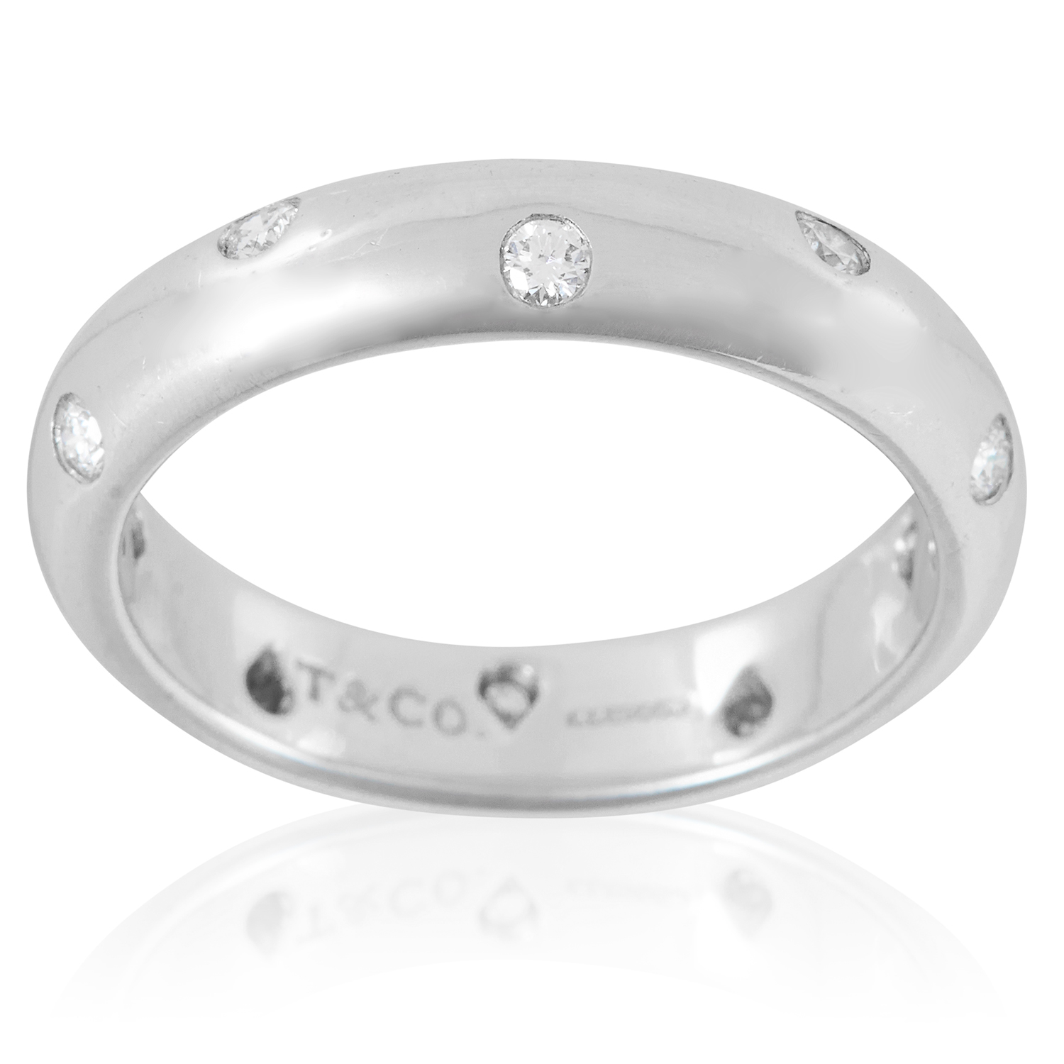 Los 15 - AN ETOILE DIAMOND ETERNITY RING, TIFFANY & CO in platinum, the plain, bevelled band set with ten