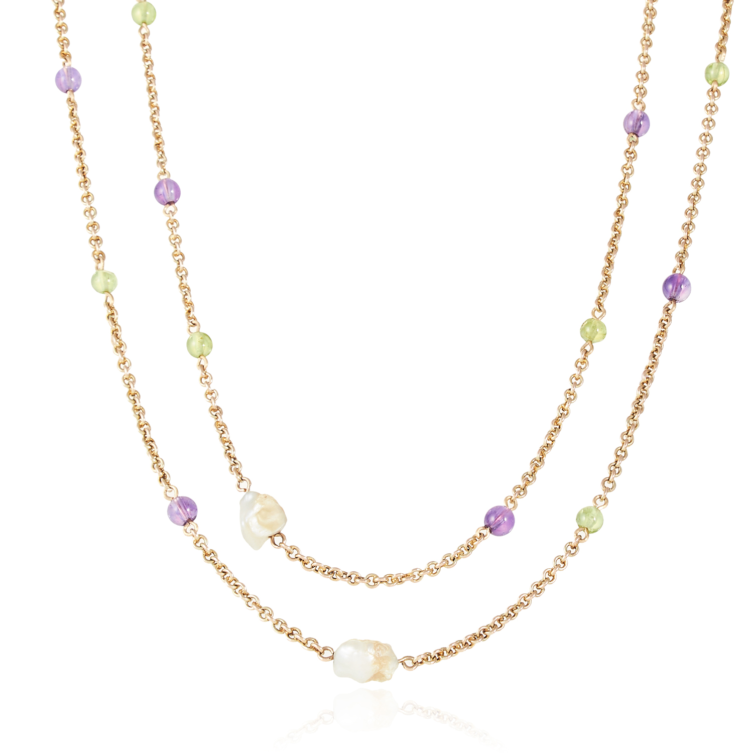 AN ANTIQUE NATURAL PEARL, PERIDOT AND AMETHYST SUFFRAGETTE SAUTOIR NECKLACE, EARLY 20TH CENTURY in