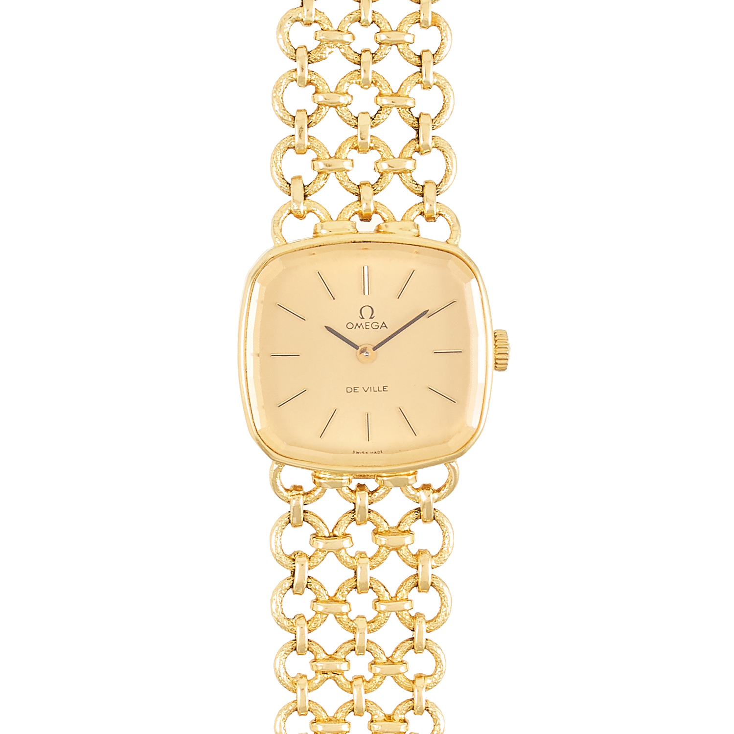 Los 291 - A LADIES OMEGA DE VILLE WRIST WATCH in 18ct yellow gold, the cushion shaped face within a circular