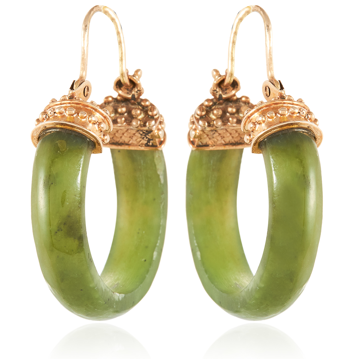 A PAIR OF ANTIQUE NEPHRITE JADE HOOP EARRINGS in yellow gold, each designed as a polished hoop of