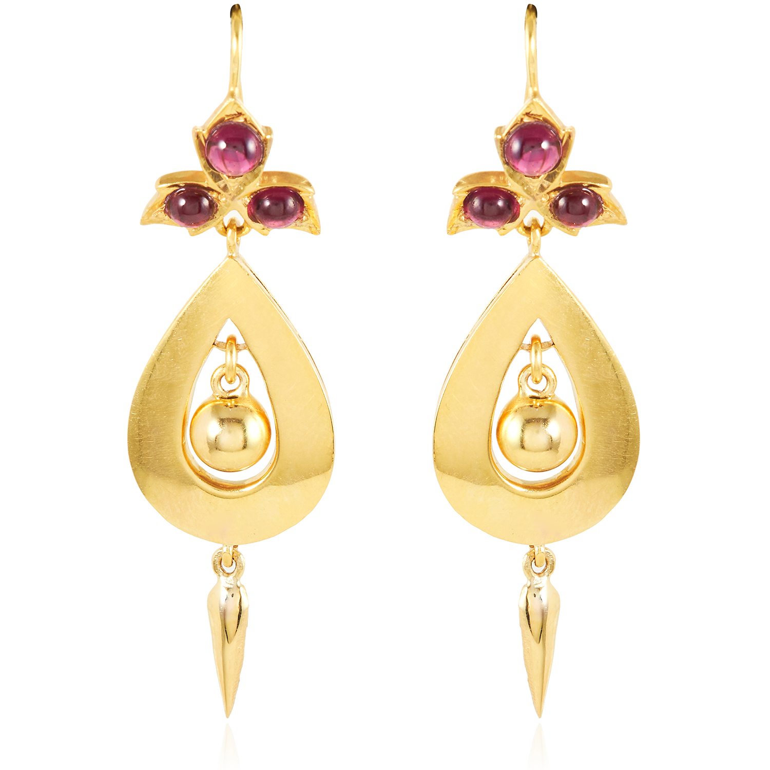 Los 33 - A PAIR OF ANTIQUE GARNET DROP EARRINGS, 19TH CENTURY in high carat yellow gold, each with a