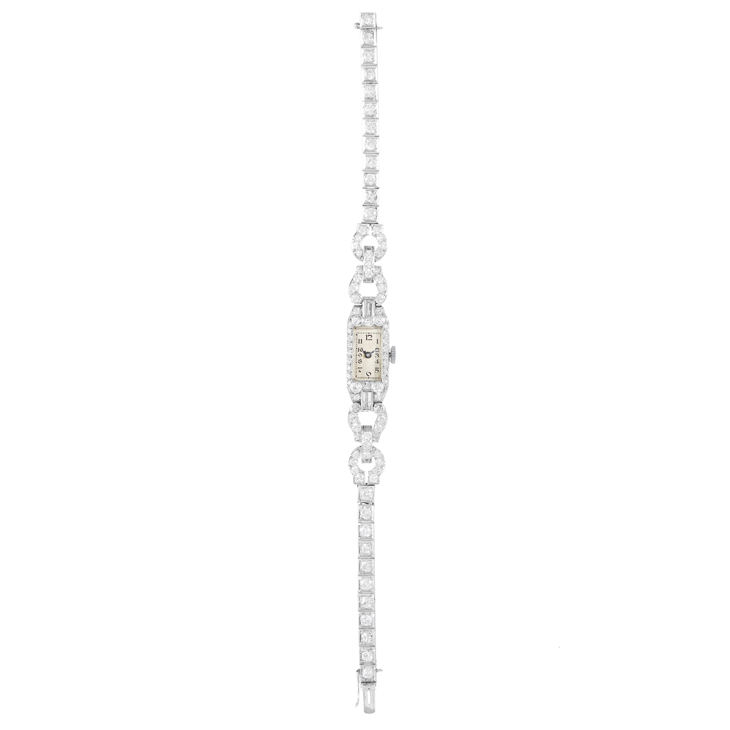 Los 273 - AN ART DECO DIAMOND COCKTAIL WATCH in white gold or platinum, set with round, baguette and single