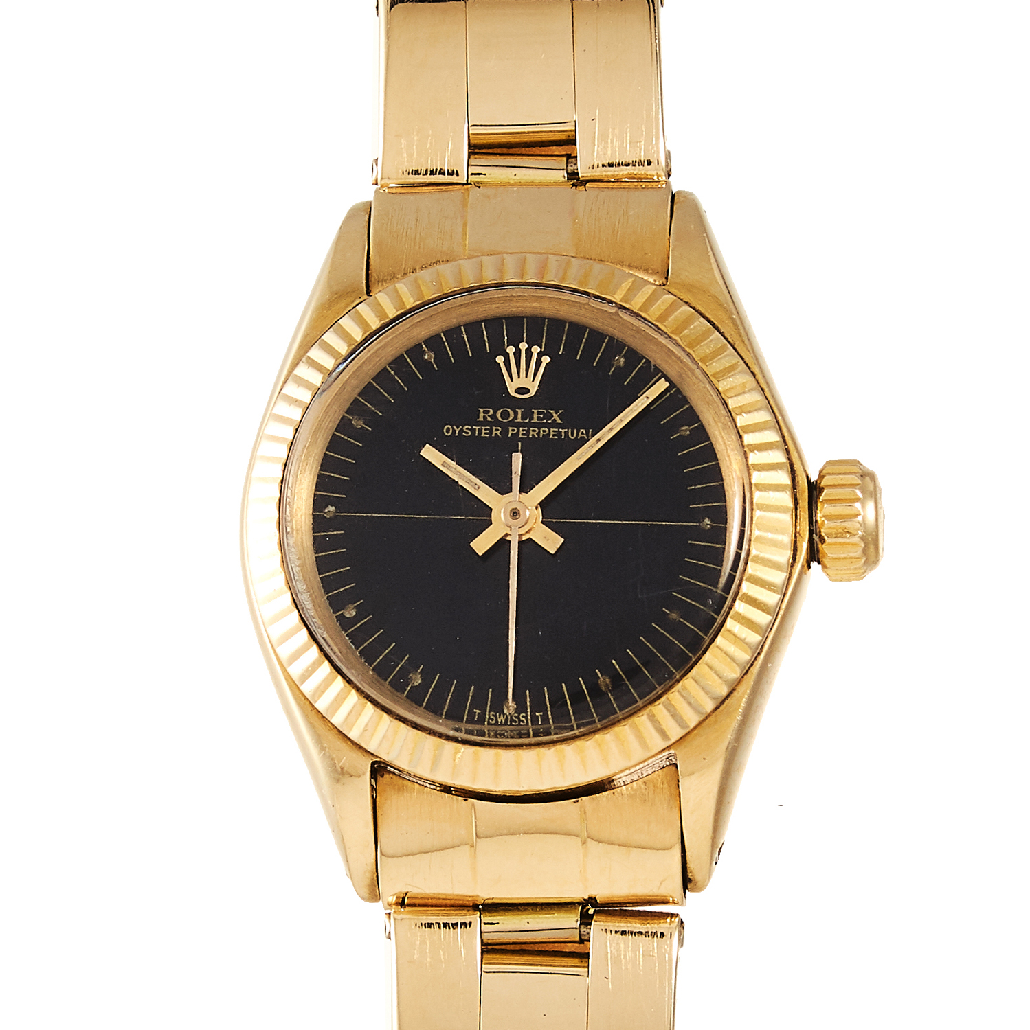 Los 132 - A LADIES 'OYSTER PERPETUAL' WRISTWATCH, ROLEX, CIRCA 1970 in 18ct yellow gold, with black dial,