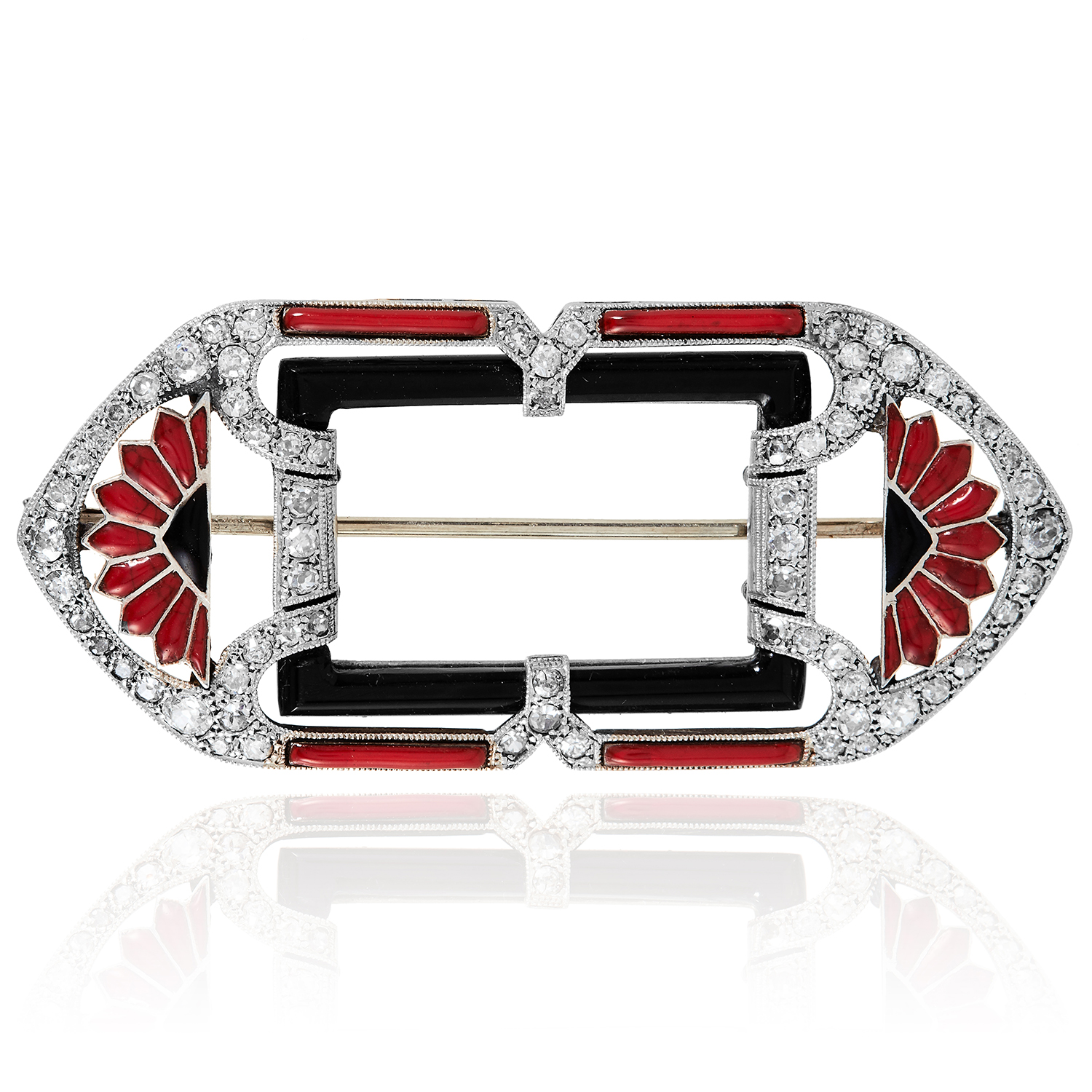 Los 22 - AN ART DECO DIAMOND, ONYX AND ENAMEL BROOCH in white gold or platinum, in Art Deco design,