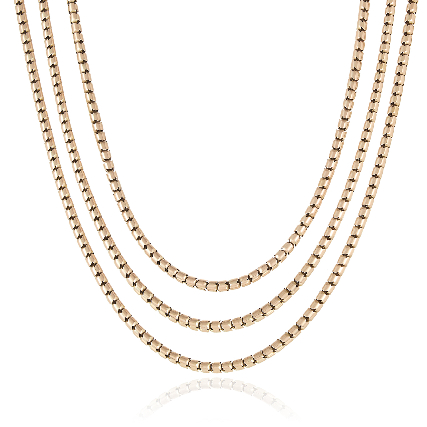 Los 101 - A GOLD FANCY LINK WATCH CHAIN in yellow gold, 80cm, 47.3g.