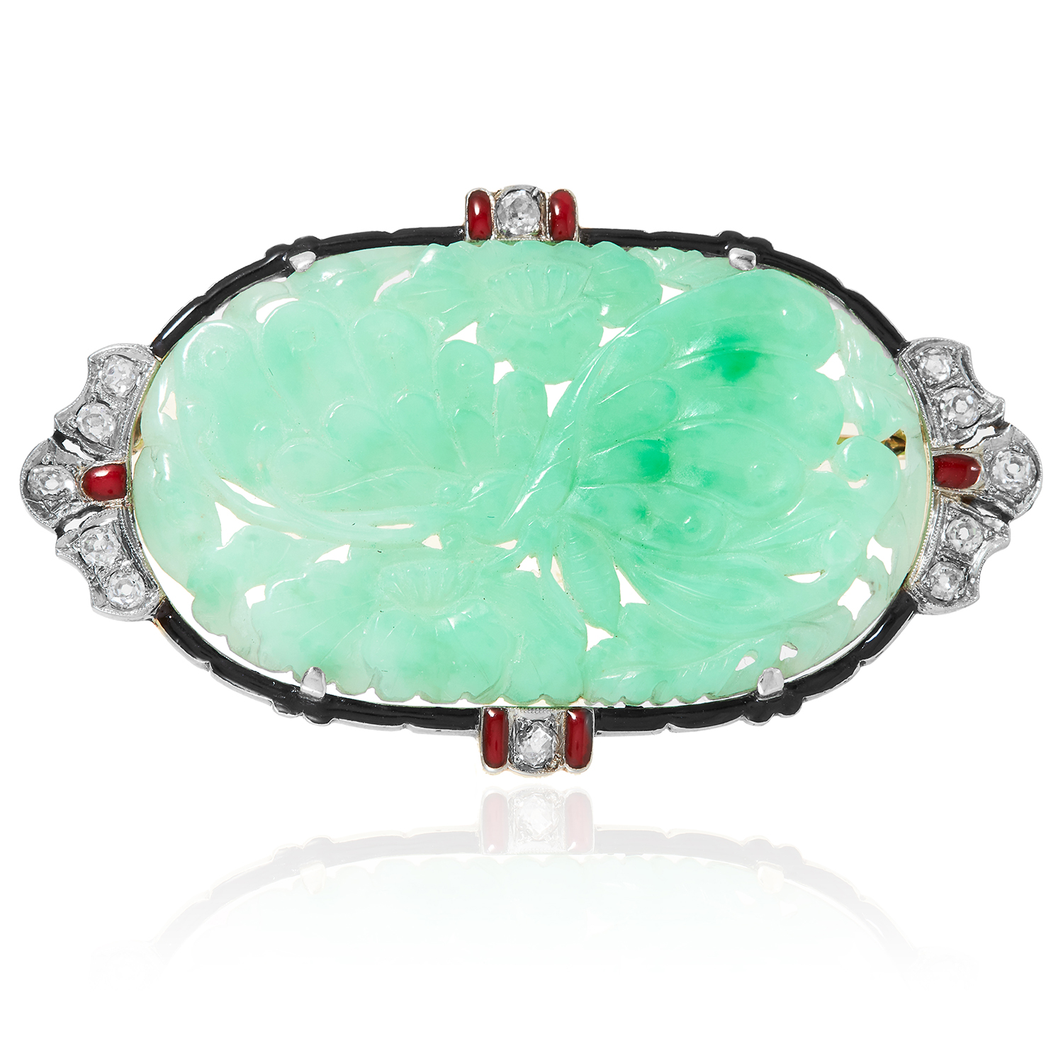 AN ART DECO JADEITE JADE, DIAMOND AND ENAMEL BROOCH in yellow gold, set with a carved jade plaque,