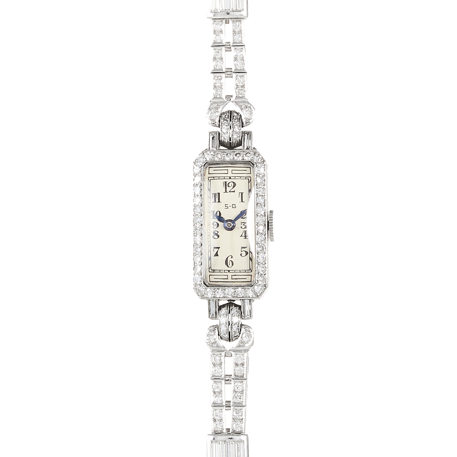 AN ART DECO DIAMOND COCKTAIL WATCH, PATEK PHILIPPE MOVEMENT in white gold or platinum, the strap - Image 2 of 2