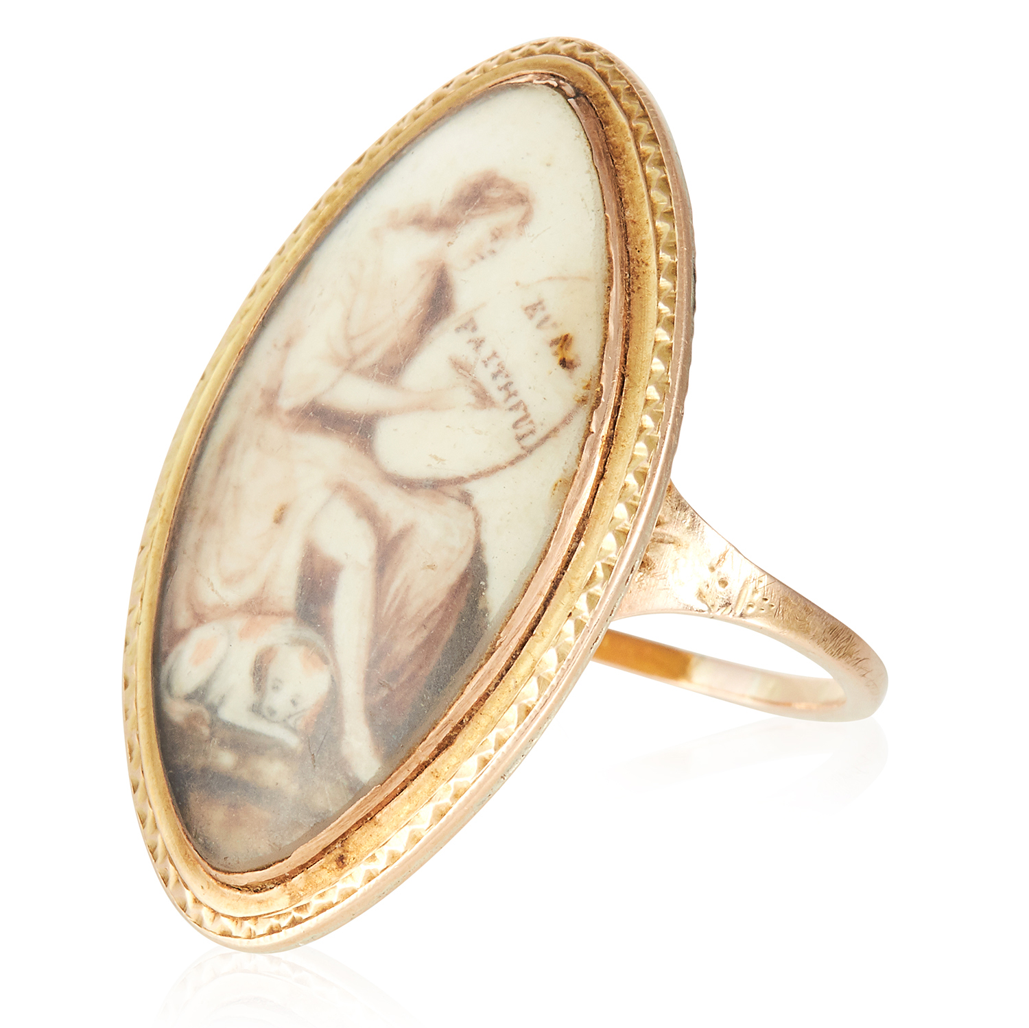 Los 34 - AN ANTIQUE PORTRAIT MINIATURE MOURNING RING, CIRCA 1780 in high carat yellow gold, of navette form