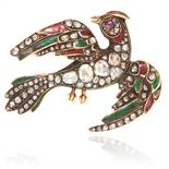 AN ANTIQUE RUBY, DIAMOND AND ENAMEL BIRD BROOCH in yellow gold, depicting a bird, the body set