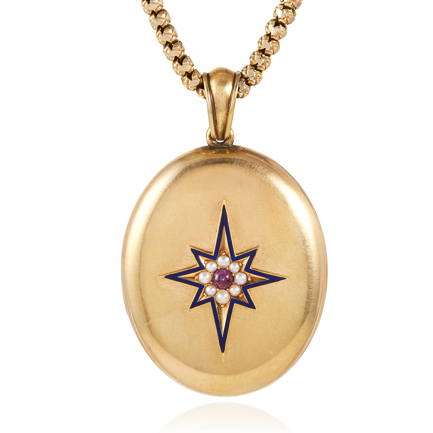 Los 1 - AN ANTIQUE GARNET, PEARL AND ENAMEL LOCKET in high carat yellow gold, set with a cabochon garnet,