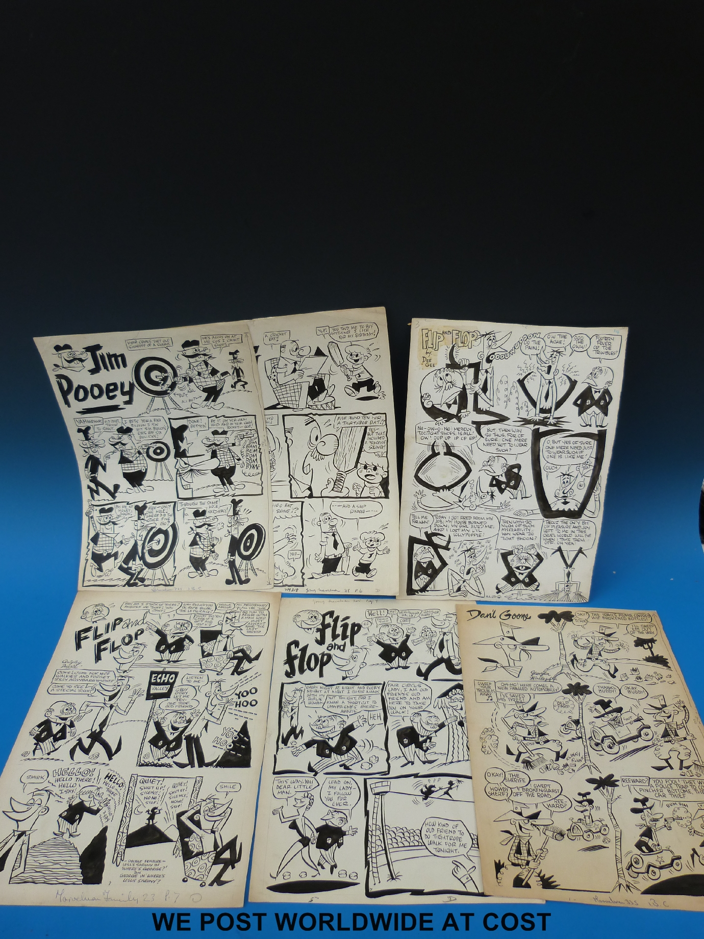 Lot 903 - Marvelman artist cartoon comic pages from 1950s Marvelman/ Familt, Flip & Flop, Friendly Sole,