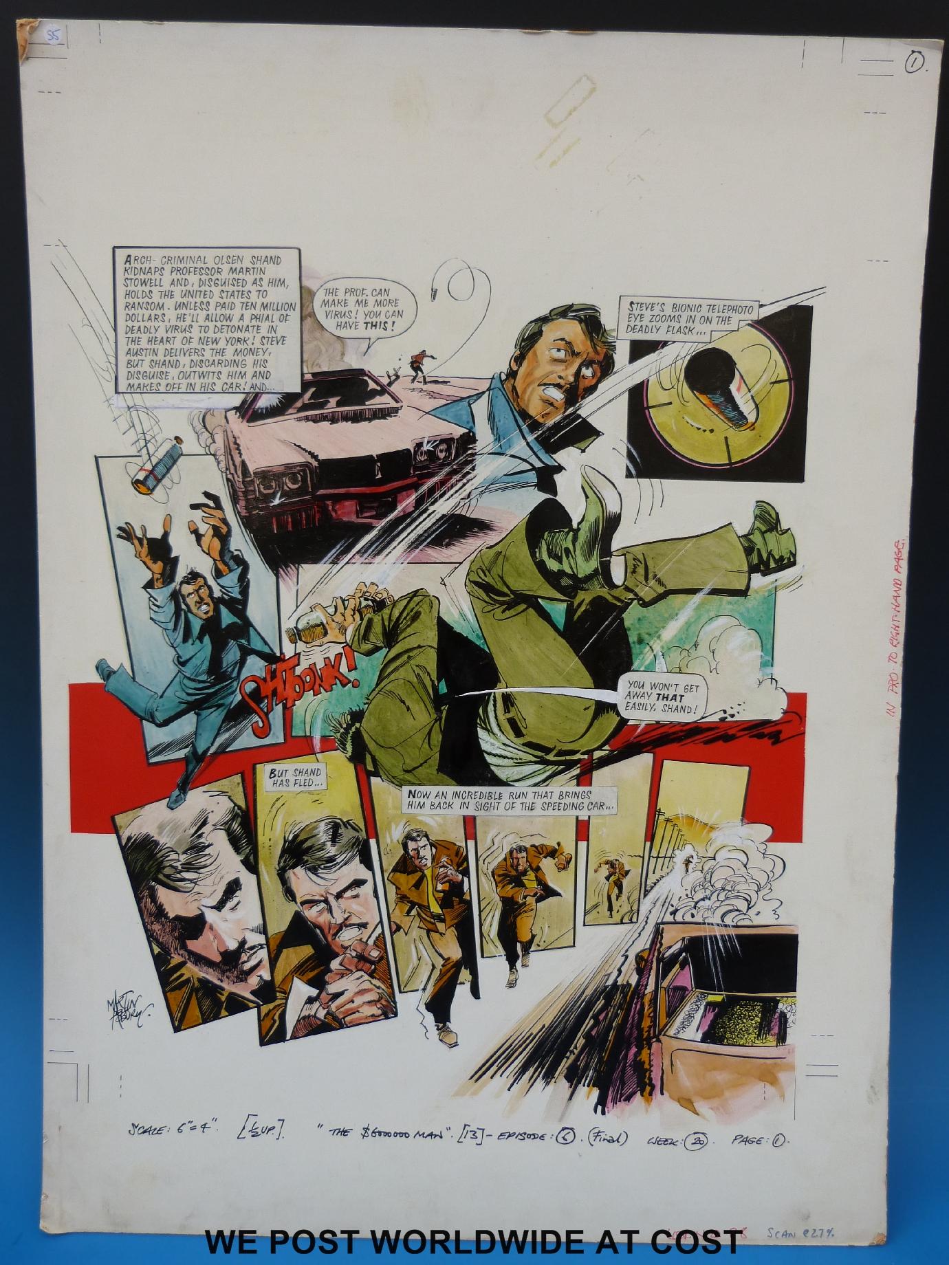 Lot 902 - Six Million Dollar Man starring Lee Majors: full colour original art page by artist Martin Asbury,