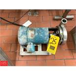 """Tri Clover 1.5 HP Pump with Reliance, 1,725 RPM Motor and 1.5"""" x 2"""" S/S Head, Clamp Type Rigging"""