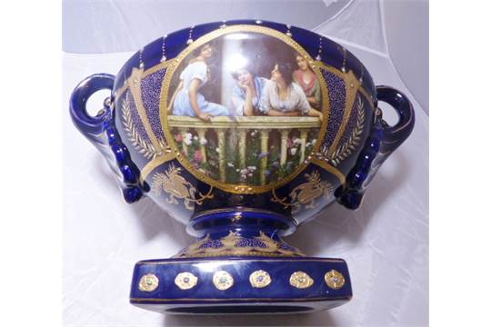 Royal Limoges Vase Royal Limoges Blue Twin Handled Hand Painted