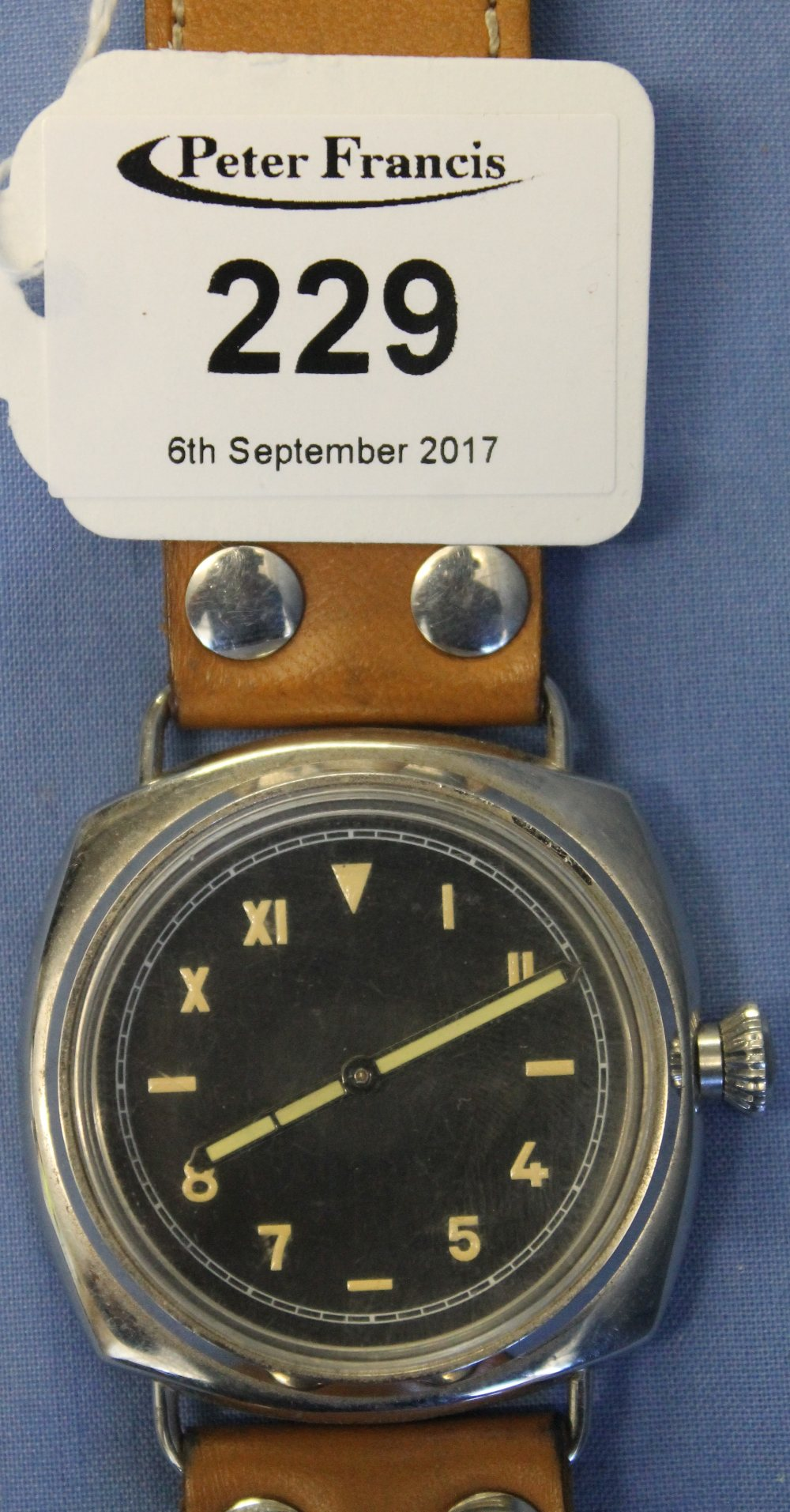 Lot 229 - Panerai copy of a gent's wristwatch. Movement marked Rolex. (B.P. 24% incl.