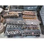 Pallet of Triumph TR4/6 engine heads