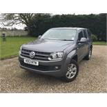 2013/13 REG VOLKSWAGEN AMAROK DOUBLE CAB TDI TRENDLINE 4MOTION 2.0 DIESEL GREY PICK-UP 180BHP