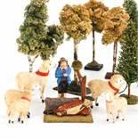 Schafherde mit Schäfern und Bäumen