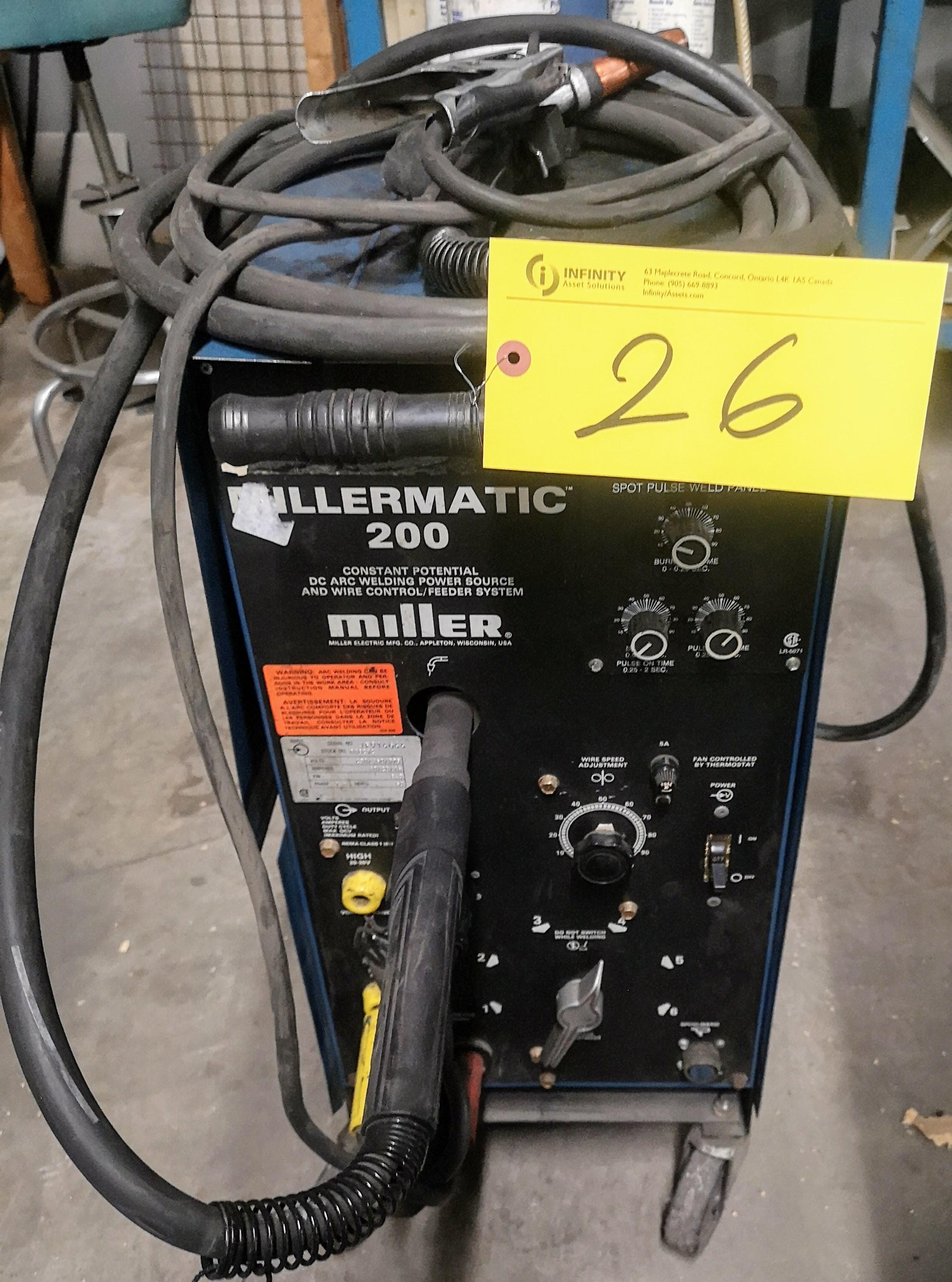 MILLER MILLERMATIC 200 SKP35 DC ARC WELDER, S/N JF914666