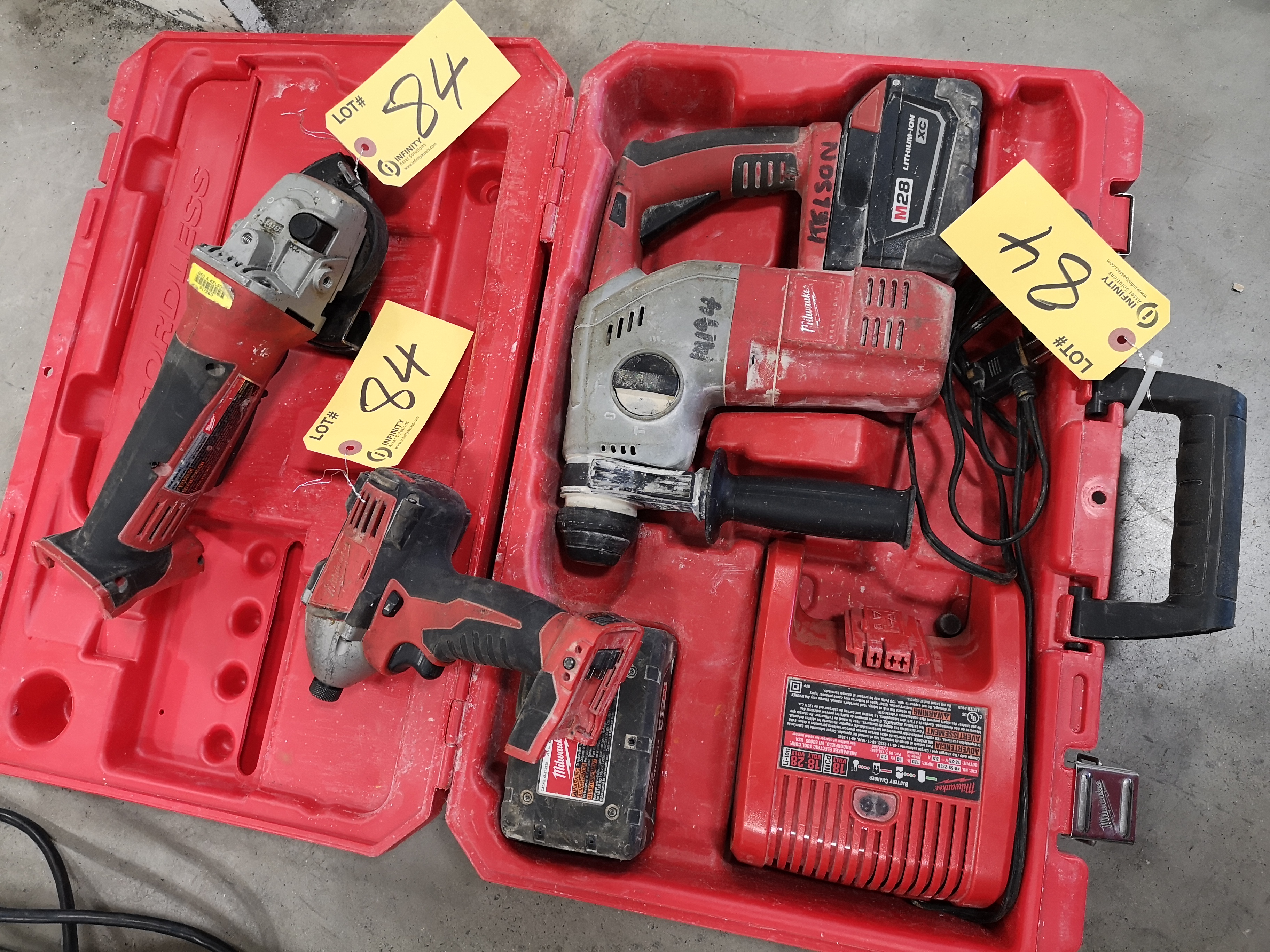 """MILWAUKEE M28 ROTARY HAMMER DRILL W/ (2) BATTERIES AND CHARGER, MILWAUKEE M18 4-1/2"""" CUTOFF/"""