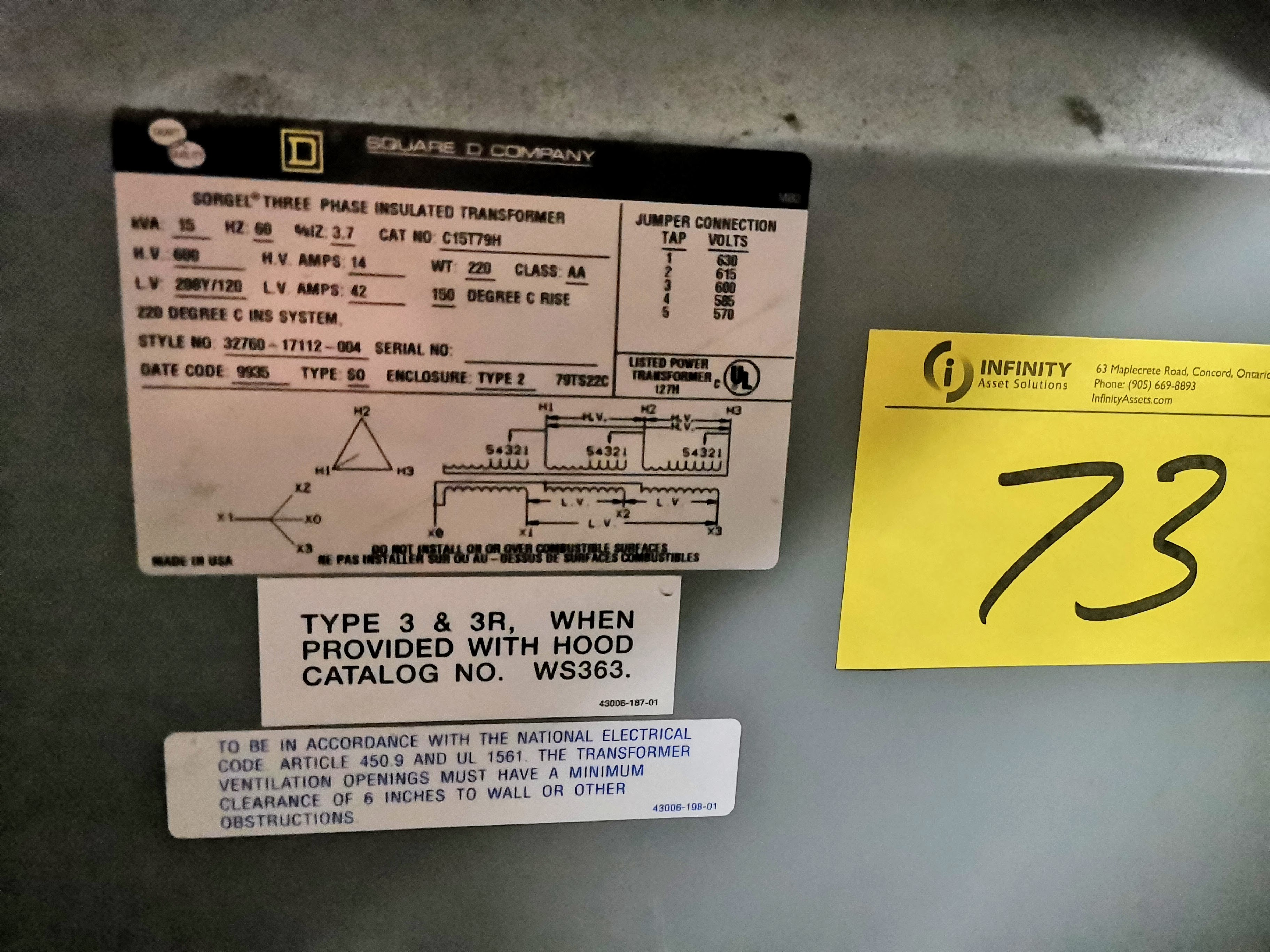SQUARE D COMPANY 15KVA TRANSFORMER, 600V PRIMARY, 208Y/120 SECONDARY - Image 2 of 2