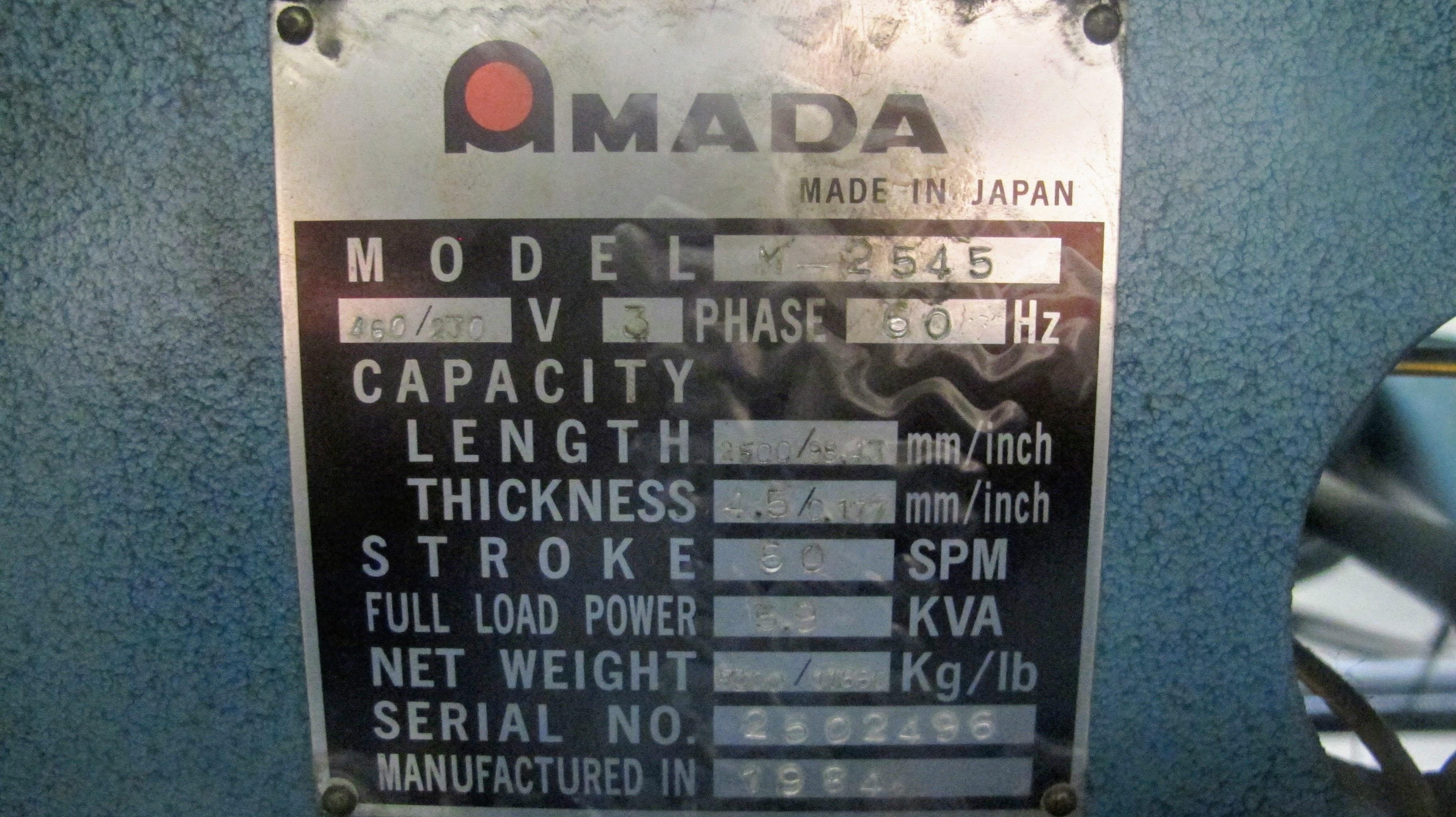 "AMADA M-2545 POWER SHEAR, 3/16"" X 96"" CAP., 60 SPM, S/N 2502496, 3 PHASE, 5.9KVA FULL LOAD - Image 5 of 7"