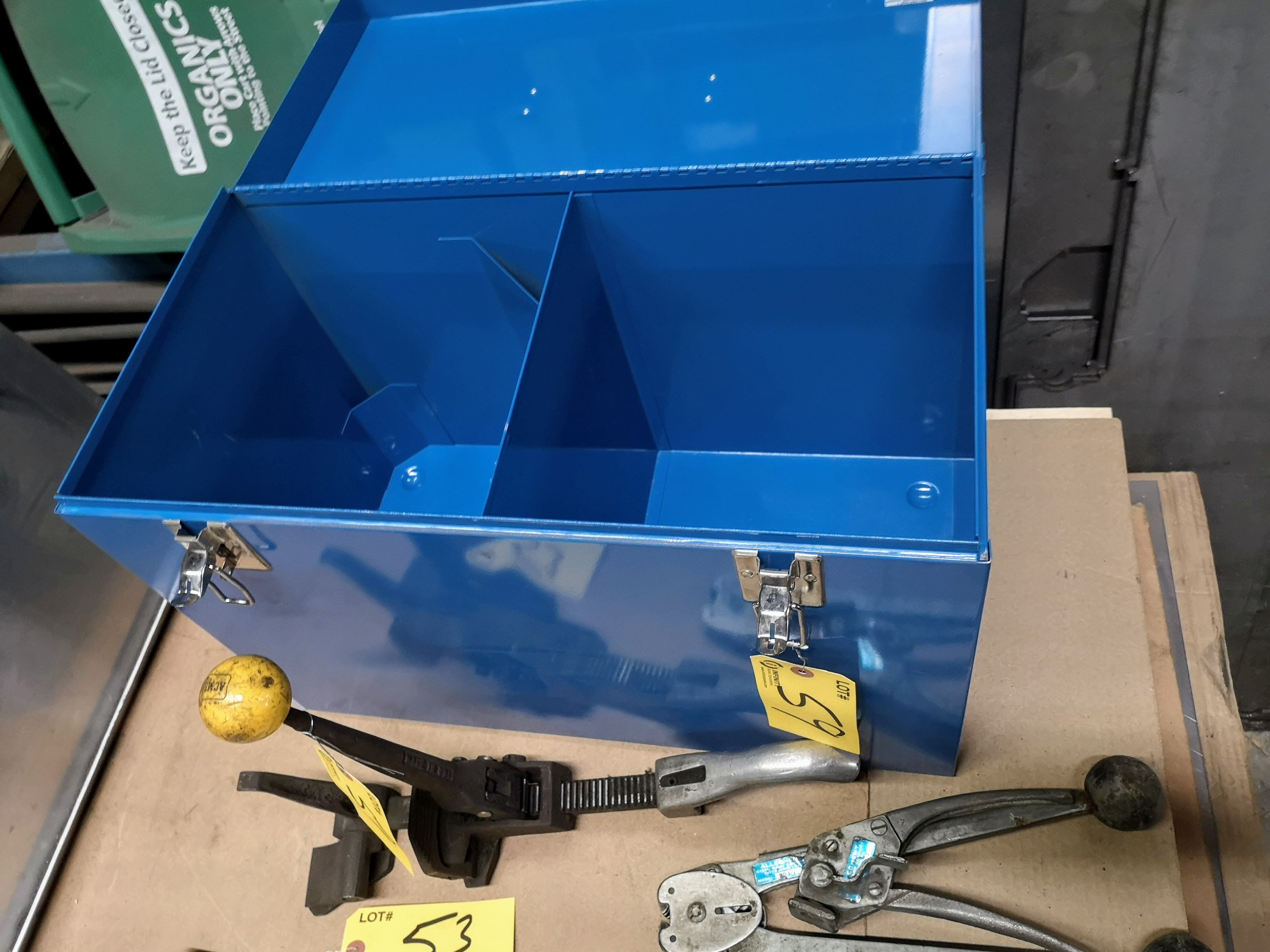 LOT STRAPPING TOOLS AND EQUIPMENT BOX - Image 2 of 2