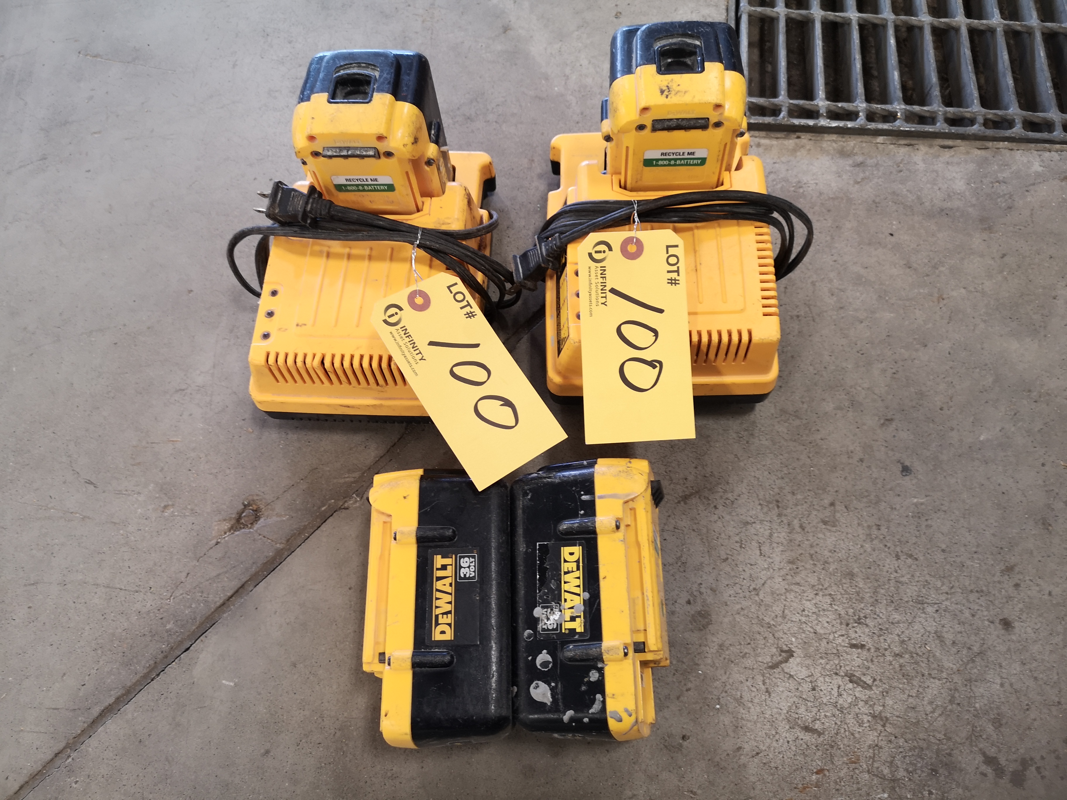 LOT (4) DEWALT 36V BATTERIES AND (2) CHARGERS (LOCATED AT 1135 STELLAR DRIVE, NEWMARKET, ON)