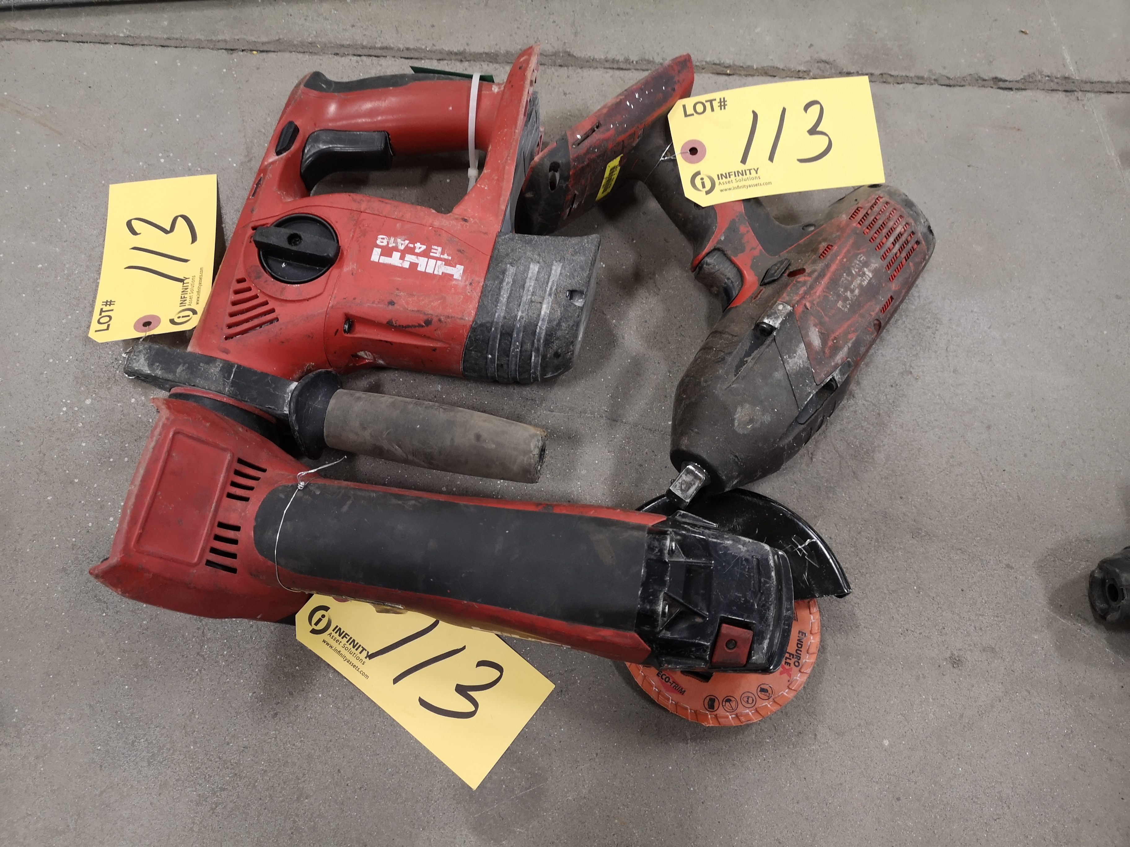 HILTI TE4-A18, S1W18T-A AND AG 500-A18 (NO BATTERY OR CHARGER) (LOCATED AT 1135 STELLAR DRIVE,