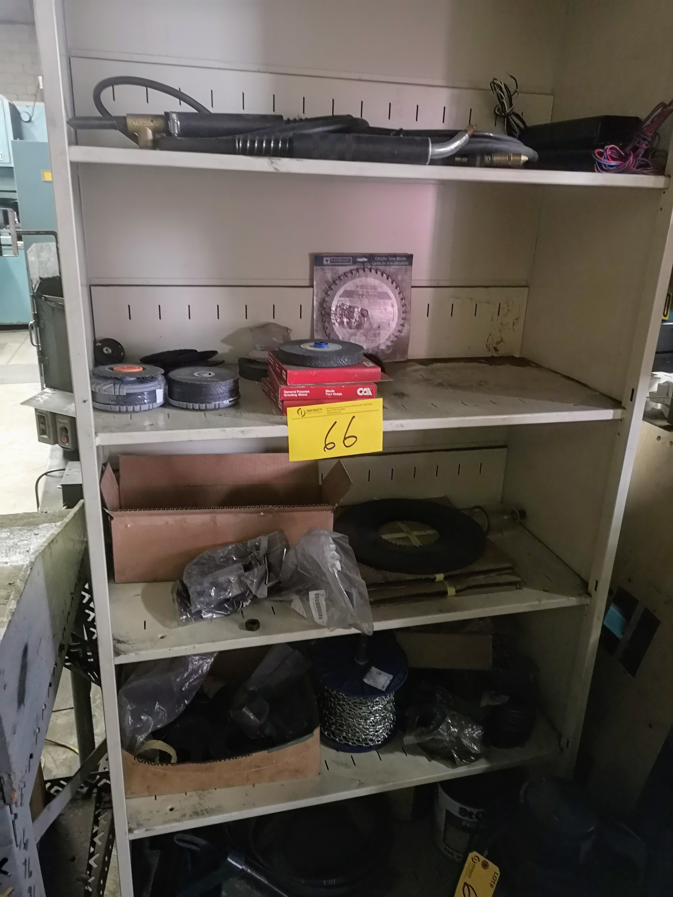 LOT CONTENTS OF (2) CABINETS, GRINDING/CUTTING DISCS, NUTS, BOLTS, ETC.