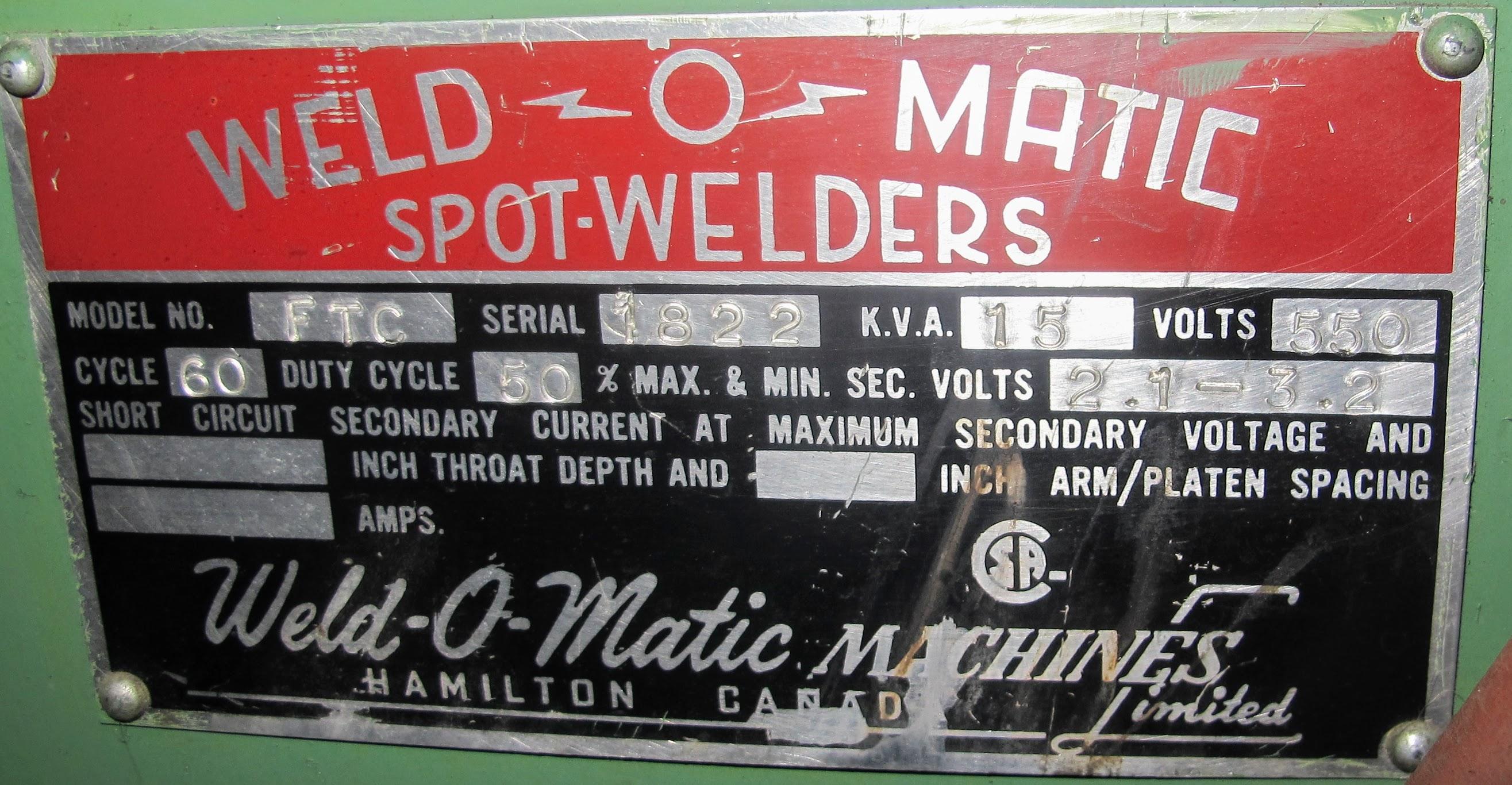 "WELD-O-MATIC FTC SPOT WELDER, 15KVA, 12"" THROAT, S/N 1822 - Image 4 of 4"